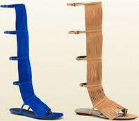 Free shipping gladiator sandals women hot women knee high summer boots fashion tassel women flat shoes open toe women sandal