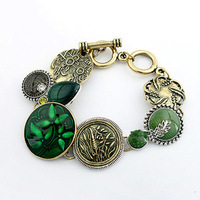 2014 new fashion Female nomination bracelet High quality bisuteria Green Carve Leaf gypsy Alloy harmes indian bangles  for women