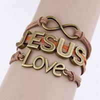 Free Shipping!! 2014 Unisex Bracelet uniors Brown Love Jesus Bracelets & bangles Alloy Fashion Bracelet Of Women