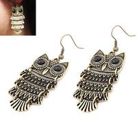 3 paris/lot 2014 New Fashion Roll Bronze Owl Delicate Alloy Korean Earrings drop long  Earrings for Women