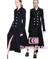 High Quantity Double Breasted Long Design Women Wool Blending Jacket / Fashion Appliques Black Slim Women Coat XS-XXL