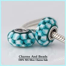 2pcs 2014 new arrival s925 sterling silver teal lattice murano glass beads for jewelry making fits