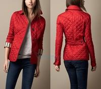 Women Fashion Brand British Short Cotton Padded Jacket/Designer Plaid Collar Casual Coats Elegant Outerwear #D