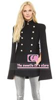 Autumn and winter double breasted blending woolen cloak outerwear / Fashion slim batwing sleeve black women jacket XS-XXL