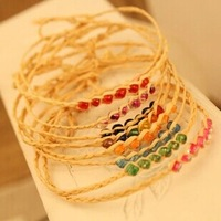 Xmas gifts Vintage raffia 6 acrylic beads handmade braided Bracelet lucky grass Wishing rope bracelets Mix color New 30pcs/lot
