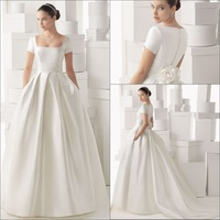 Delicate Ball Gown with Short Sleeves zipper Satin Wedding Dress 2014
