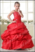 red Flower Girls Sequin Glitter Beaded Dress Christmas Pageant Graduation Silver New  1,2,3,4,5,6,7,8,9 Yrs