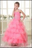 Leisure Vogue Girls Princess Dress Pretty Party Flower Pink Lace Dress 2 4 6 8 10 12 14 +++