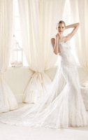 2014 new white fashionable sweetheart lace appliques chapel train vintage mermaid wedding dress bridal gowns