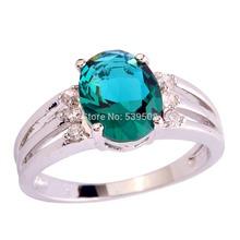 al por mayor unisex estilo vintage corte oval verde zafiro blanco& 925 anillo de plata tamaño 6 7 8 9(China (Mainland))