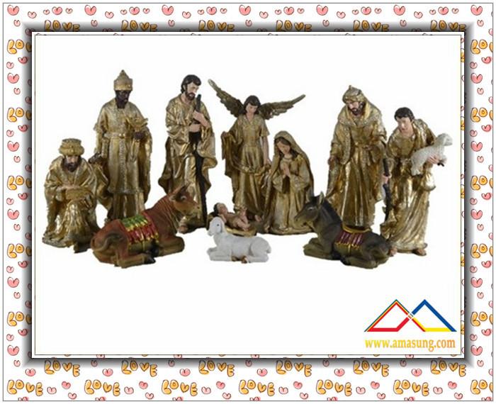 18''H Religious Natural Resin Christmas Nativity Set Scene, Custom Resin Nativity Set Crafts(China (Mainland))
