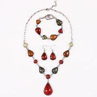 2014 Fashion Colourful Waterdrop Pendants Jewelry Sets Korean Vogue Faux Amber Necklaces +Earrings +Bracelet For Woman DFX-550