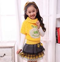 3 set/lot Girls' Sets Long Sleeves Children Clothing Kids Warm Suit  Long Sleeve T-shirt+sweater+skirts 3pcs/set 3 Colors  AB270