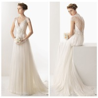 2014 Hot A-line Deep V-neck Cap Sleeves Sweep Train Tulle Lace Wedding Dresses Wedding Gown Bridal Dresses Bridal Gown