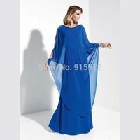 Wholesale Scoop Neckline Long Sleeve Beading Shoulder Royal Blue Kaftans Evening Dress