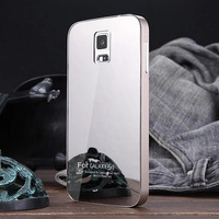 S5 Luxury Ultra thin Aluminum Metal + Mirror Glass Battery Back Cover Case  for Samsung Galaxy S5 i9600 Phone bags Matte Surface