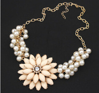 2014 High Quality Fashion Jewelry Pearl Flower Choker Necklace For Woman Trendy Statement  Necklaces & Pendants CJ168