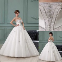 QYJY023 Hot New Arrival Ball Gown wedding dress 2014 luxury crystal lace up back Strapless puffy ball gown wedding dresses 2014