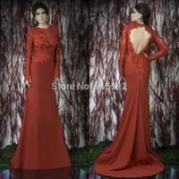 Sexy Scoop Neckline See Through Lace Long Sleeve Burgundy Chiffon Arabic Evening Dress