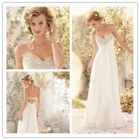 2014 Hot A-line Sweetheart Sweep Train Chiffon Beaded Open Back Wedding Dresses Wedding Gown Bridal Dresses Bridal Gown