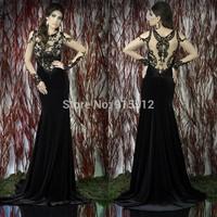 New Arrival Scoop Neckline Black Velvet Skirt Long Sleeve Muslim Evening Dress