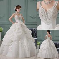QYJY029 Hot Sale Ivory wedding dress 2014 luxury crystal lace up back V-Neck lace open back wedding dresses 2014 new arrival
