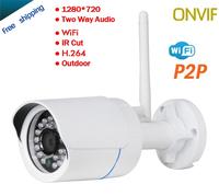 Free shipping Onvif HD Wifi IP Camera Wireless P2P Plug Play IR Cut Night Vision Waterproof Outdoor Indoor Audio Input 1280*720P