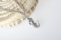 Wholesale-Sell~Antique silver Mermaid necklace, sea princess charm, little mermaid, mermaid pendant necklace