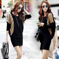 2014 autumn and winter slim hip batwing sleeve knitted long-sleeve dress slim hip one piece dress plus free shipping