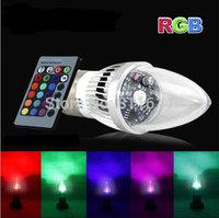Wholesale Free shipping 3W RGB led candle light 220V 110V 230V 240V color change bulb lamp E27 E14 B22 party light wedding lamp