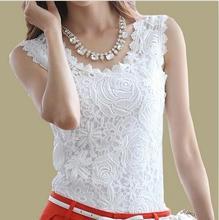 mais tamanho xxxl 2014 mulheres verão blusa casual vintage blusas femininas crochet renda branca sem mangas camisas de topo(China (Mainland))