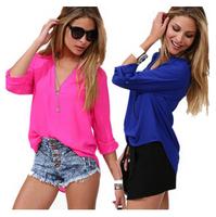 2015 spring and summer fashion elegant casual shirt Women long-sleeve shirt chiffon shirt female