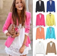 Drop Ship Work Wear Blazer Women Feminino Refresh New 2014 Candy Color Jackets Suit One Button Blazers Work Wear Blaser Fashion