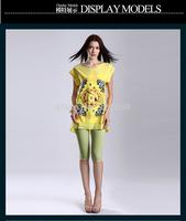 2014 new women blouses slim fit chiffon blouses top vest tank women shirts trendy shirt S-XL size short Sleeve Print Pattern