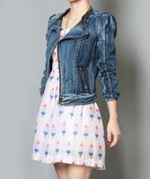 Free shipping 2014 autumn women jeans short jackets water washed women's vintage denim jackets coat l1294