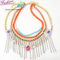 Vintage Luxury Muti Strand Flower Crystal Tassel Collar Necklace Fashion Statement Choker Charm Jewelry Women Party Engagement