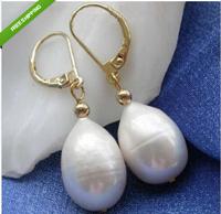 sell beautiful 10-14 MM AAA TAHITIAN WHITE PEARL EARRING 14K YG MARKED
