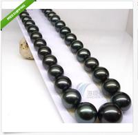 2014 NEW HUGE 18'' 10-11mm AAA++ Tahitian Black Pearls Necklace 14k FREE BOX