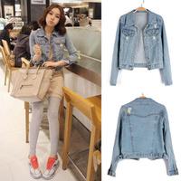 Free shipping news 2014 autumn women jeans jackets frayed women's full sleeve denim jackets coat l1291