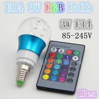 Free shipping!!!Remote control  16color 3W RGB Bulb 85-245V+24keys controller, quality assurance 1PCS