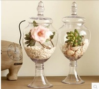 American retro transparent tall glass vase candy jar sitting room adornment is placed