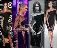 Vestidos Newest Fashion Women Irregular Patchwork Dress Sheer Mesh Sexy Evening Party Dresses Slim Dress For Lady Knee-Length