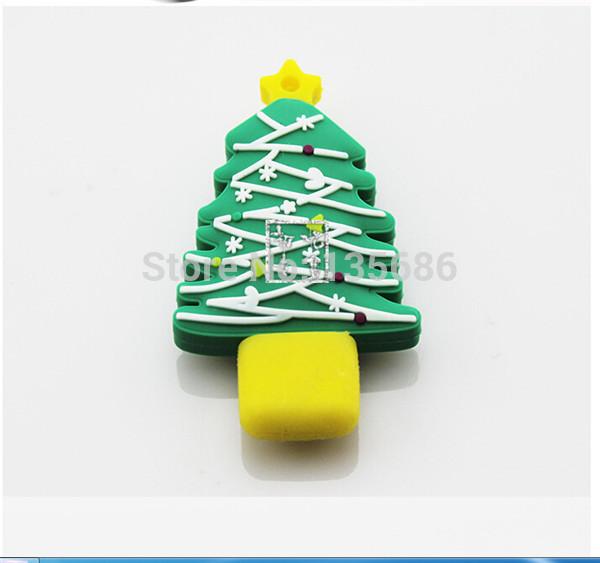 Brand New Christmas Tree Silicone USB Flash Auto Drive 1GB 2GB 4GB 8GB 16GB 32GB 64GB USB Flash Drive Pen Drive Free Shipping(China (Mainland))