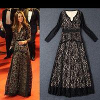 Free Shipping Kate style Charming Black Lace Long Dress  140823YC04