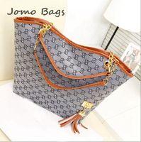 2014 Hot sale Casual women's handbag stripe canvas bag chain tassel hangings handbag fashion bag female messenger bags z2778