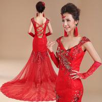 Small red new winter Slim trailing fishtail wedding dress bride