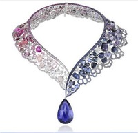 Derongems_Fine Jewelry_Luxury Tanzanite/Ruby Wedding/Party Collar Necklace_S925 Solid Silver Necklace_Manufacturer Directly Sale