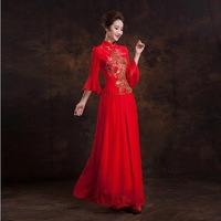 Fashionable Winter New Red Vintage Long evening dress Bride Lace cheongsam dress wedding qipao chinese traditional dress E111