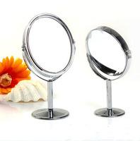 Factory direct metal trumpet mirror desktop mirror double-sided makeup mirror mirror 1:2 amplification wholesale