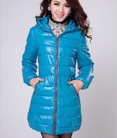 Free Shipping 2014 New Women's Winter Coat Wenai The Long Section Thick Coat Shiny Padded Jacket Down Coat plus size jacket